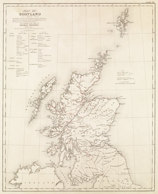 Engraving of map  inscr: ''Map of Scotland shewing The Highland Roads and Bridges made, the Harbours improved and Churches built in the Highlands, also the Glasgow and Lanarkshire Roads, all according to the Plans of Thomas Telford. Shewing also the Old Military Roads still maintained in use.''