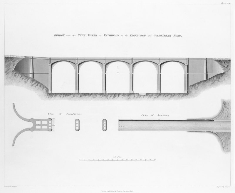 Engraving of elevation and plan inscr: ''Bridge over the Tyne Water at Pathhead on the Edinburgh and Coldstream Road.'' Includes plan of foundations and plan of roadway.
