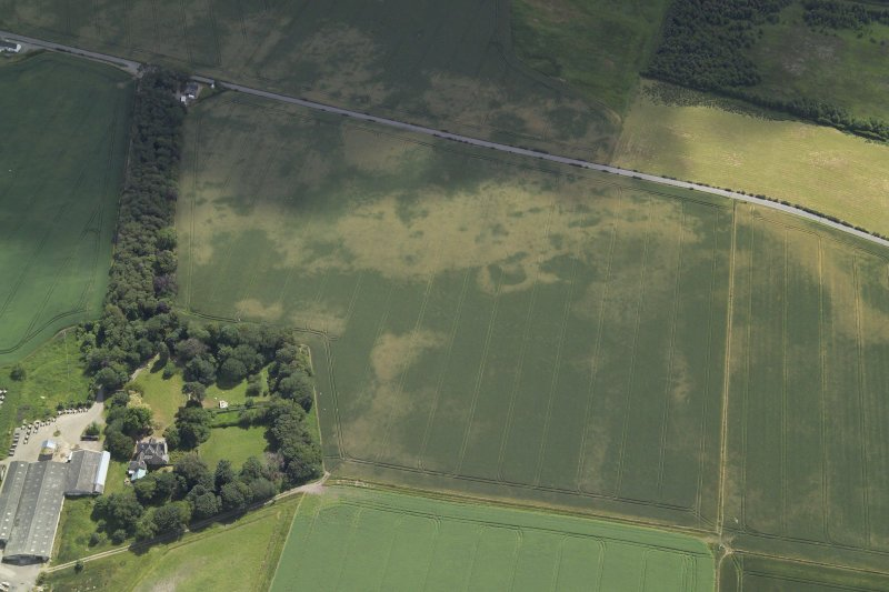 Oblique aerial view centred on the cropmarks of the possible enclosure and the pits, taken from the NW.