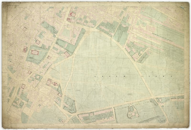 Digital image of First Edition 0S 1852 Edinburgh and its Environs (coloured) Sheet 17. The sheet covers an area  which includes Leith Links, N end of Leith Walk, Duke Street, Constitution Street and Hermitage House.