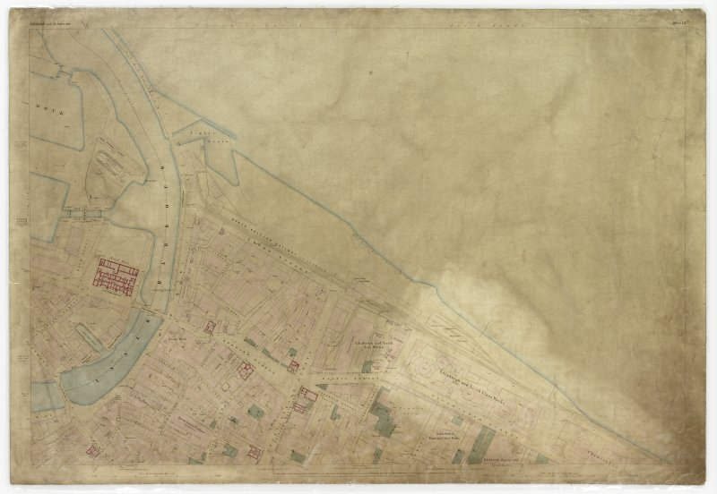 Digital image of First Edition 0S 1852 Edinburgh and its Environs (coloured) Sheet 13. The sheet covers an area  which includes N Leith, the Inner Harbour, Bernard Street, Salamander Street, the Custom House, Edinburgh and Leith Glass Works and