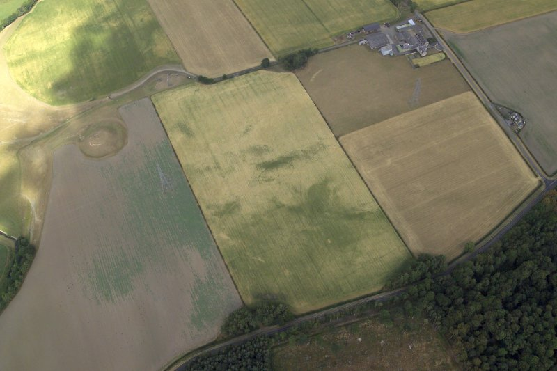 Oblique aerial view centred on the cropmarks of the plantation bank with the farmhouse, farmsteading and remains of the motte-and-bailey castle adjacent, taken from the SSE.