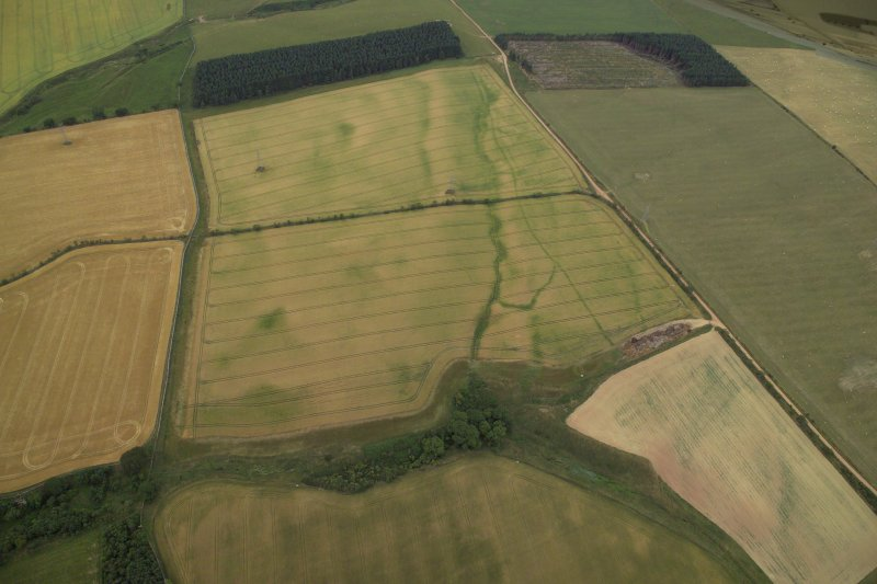 General oblique aerial view centred on the cropmarks of the field boundary, taken from the ESE.