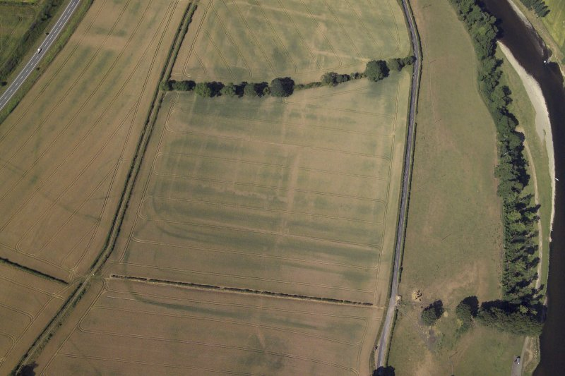 Oblique aerial view centred on the cropmarks of the Roman fort and fort annexes, taken from the ENE.