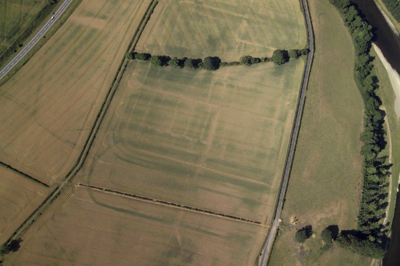 Oblique aerial view centred on the cropmarks of the Roman fort and fort annexes, taken from the NE.