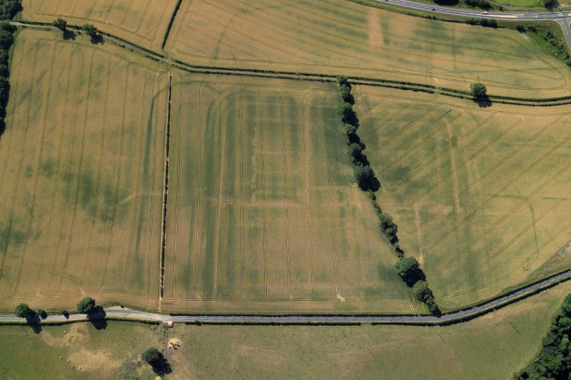 Oblique aerial view centred on the cropmarks of the Roman fort and fort annexes, taken from the NNW.