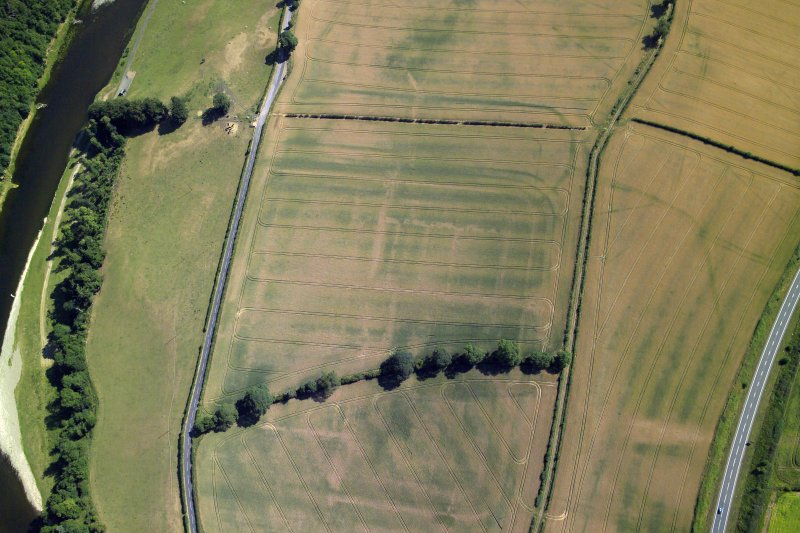 Oblique aerial view centred on the cropmarks of the Roman fort and fort annexes, taken from the SW.