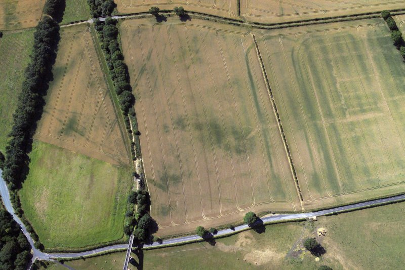 Oblique aerial view centred on the cropmarks of the Roman fort, Roman temporary camps and fort annexes, taken from the N.