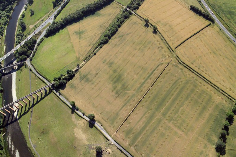 Oblique aerial view centred on the cropmarks of the Roman fort, Roman temporary camps and fort annexes, taken from the NW.