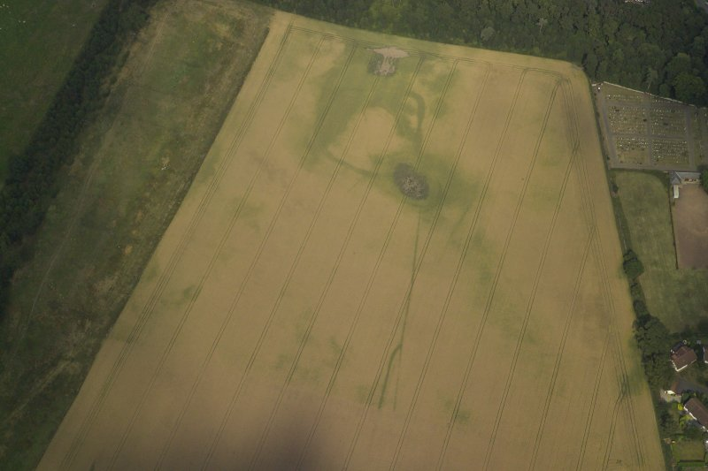 Oblique aerial view centred on the cropmarks of the settlement and the cursus, taken from the SW.