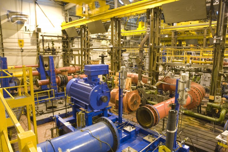 Interior. Test Shop. Bay 1A. View of Medium and Large Split Casing Pumps area