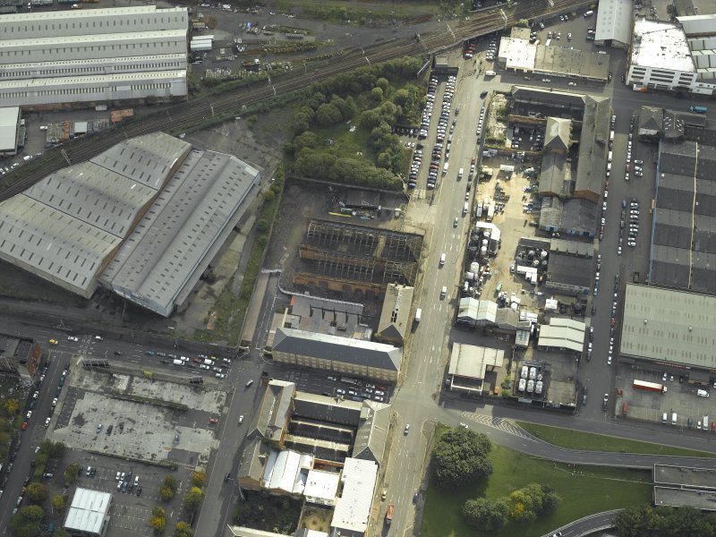 Oblique aerial view centred on the works, taken from the NNE.