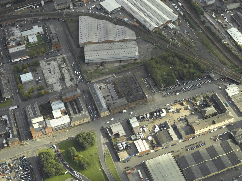 Oblique aerial view centred on the works, taken from the NW.