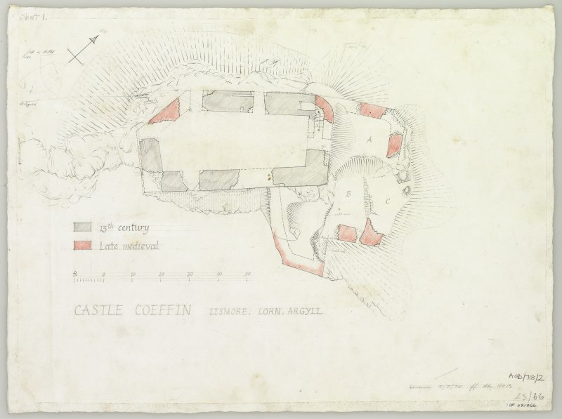 Survey drawing; phased plan of Castle Coeffin at ground floor level