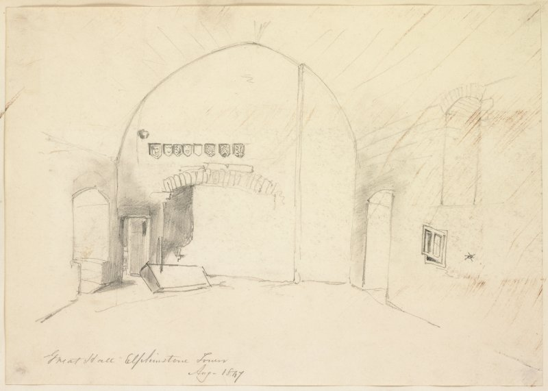 Drawing of interior of great hall, Elphinstone Tower.