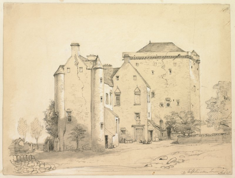 Drawing of Elphinstone Tower before demolition of the wing.