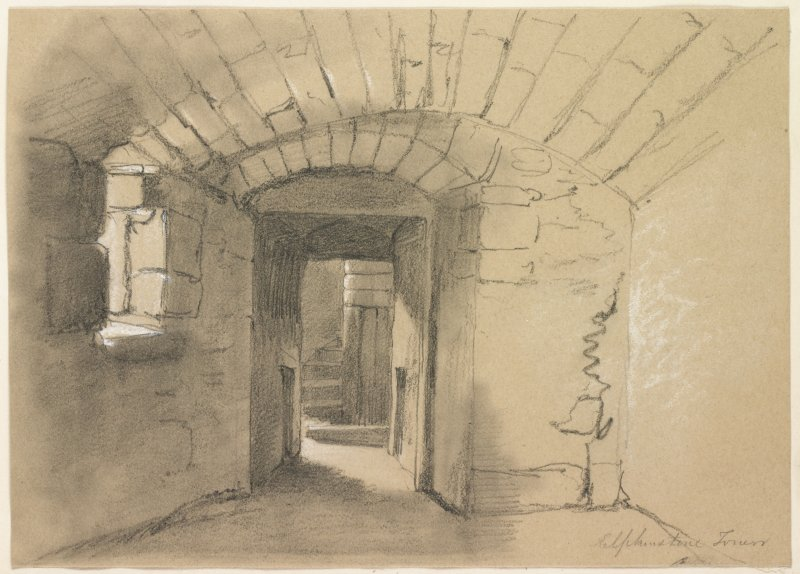 Drawing of small vaulted room, Elphinstone Tower.