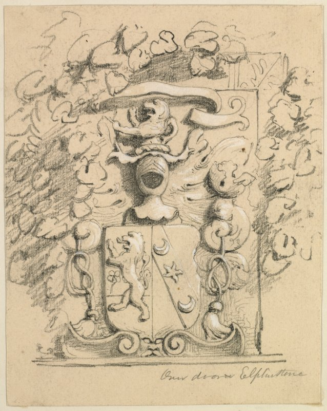 Drawing of small armorial panel, Elphinstone Tower.