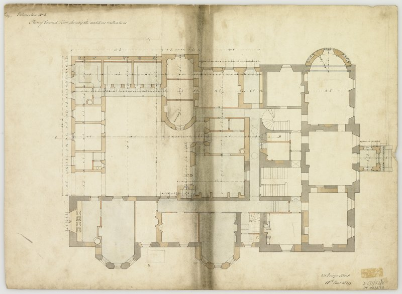 Plan of ground floor showing alterations.