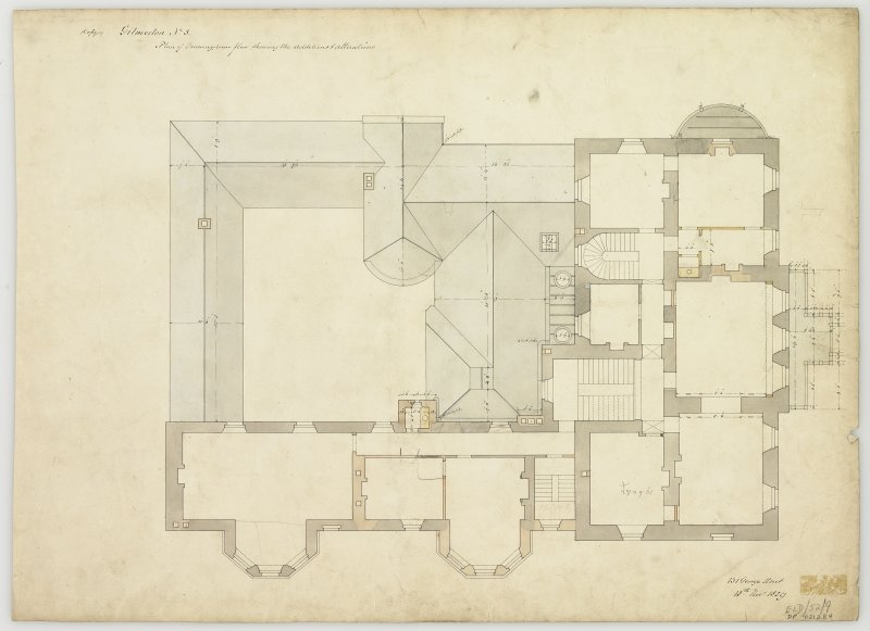 Plan of drawing room floor showing alterations.