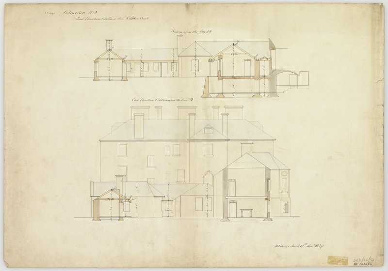 Section through kitchen court and E elevation of house.