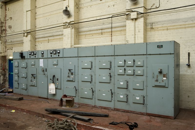 Interior.  Main control panel for electricity generating house from E.