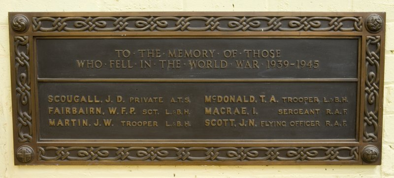 Interior. Ground floor, main workshop, detail of memorial plaque.