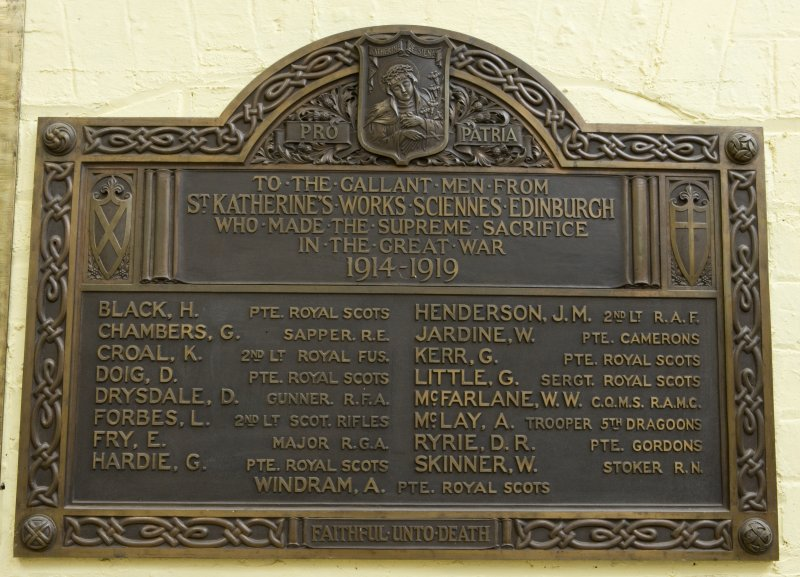 Detail of World War I memorial plaque in main ground floor workshop of the printing works at 9 Warriston Road, Edinburgh.