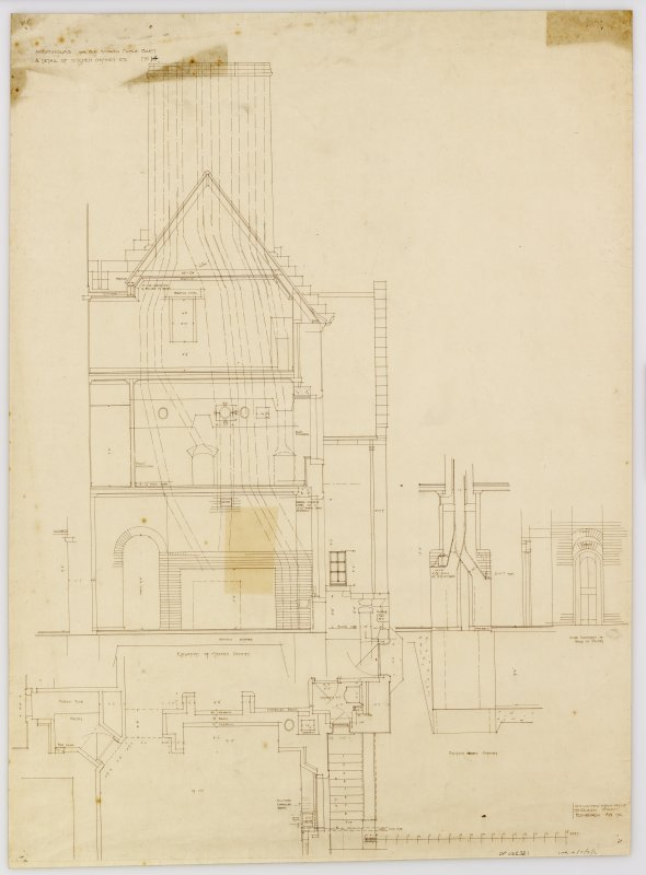 House for Sir Andrew Noble. Elevation and 1/2 detail of Kitchen chimney.