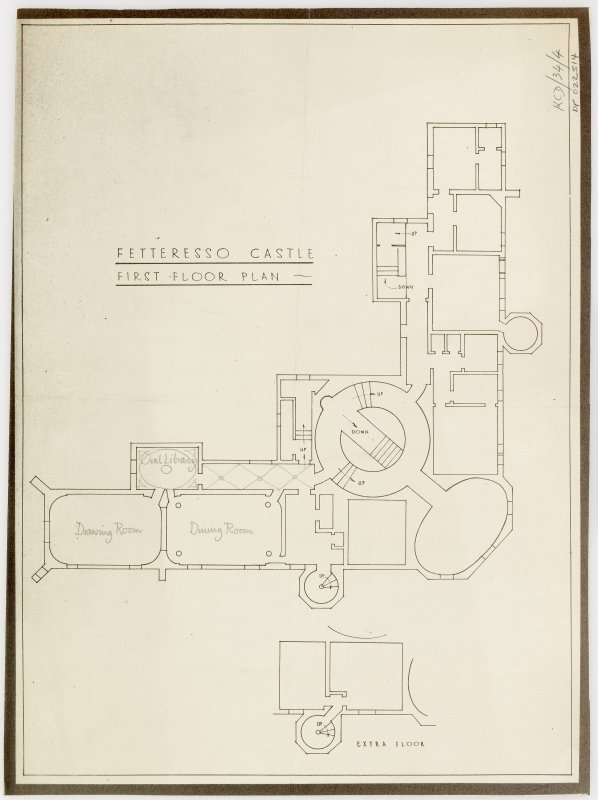 First floor plan showing plan of extra floor.