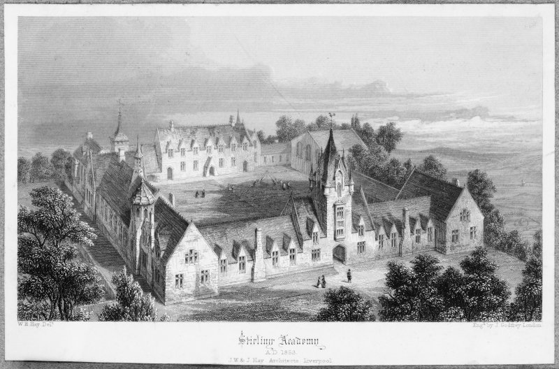 Engraving showing view of Stirling Academy.