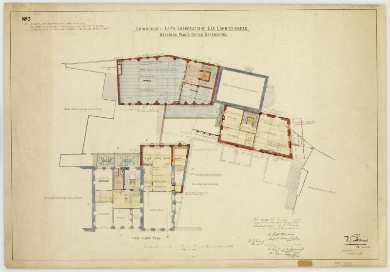 'Edinburgh & Leith Corporations' Gas Commissioners. Waterloo Place Office Extensions First floor plan' Signed: 'W R Flemming and other names'