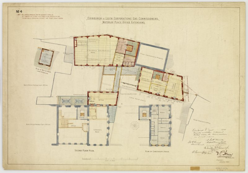'Edinburgh & Leith Corporations' Gas Commissioners. Waterloo Place Office Extensions Second floor plan and plan of caretaker's house' Signed: 'W R Flemming'