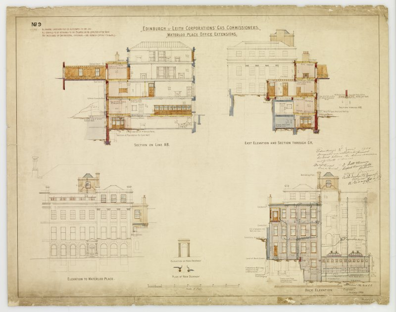 'Edinburgh & Leith Corporations' Gas Commissioners. Waterloo Place Office Extensions' Section on line AB, East elevation section through GH, Elevation to Waterloo Place, Back elevation. Signed: 'W R Flemming'