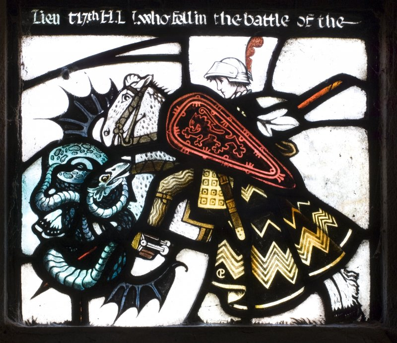 Interior. Detail of Chancel NE stained glass window panel of St George and the Dragon by Guthrie and Wells, St Ninian's Episcopal Church, Troon.