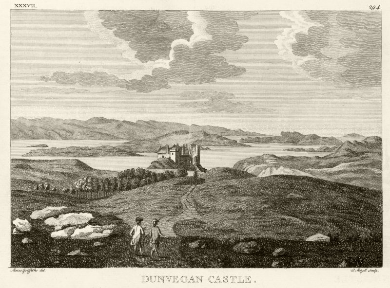 Engraving showing distant view of Dunvegan Castle, from 'Pennant Tour in Scotland 1772', Vol I (plate 37, p294)
