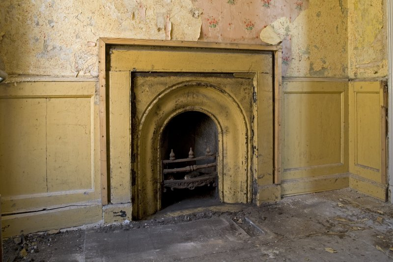 Interior. Ground floor, rear lobby, detail of fireplace