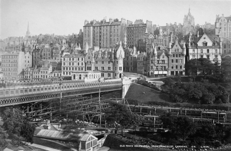 Old Town Edinburgh, from Princes Street Gardens. [Scaffolding on Waverley Bridge c.f.PA195/63/2].