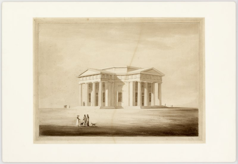 RIAS: W.H. Playfair, Rendered Perspective of Design for City Observatory, Calton Hill, Edinburgh.  Signed: ''W.H. Playfair Esq. Architect, Intended Building, Calton Hill.''