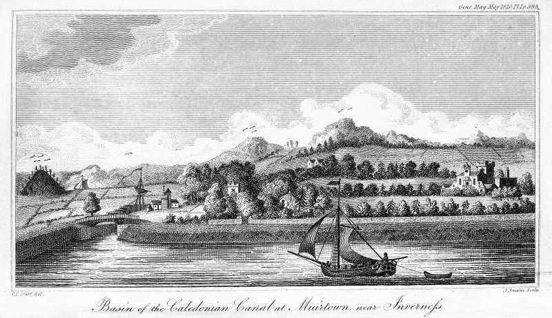 Copy of engraving showing view of Muirtown Locks.