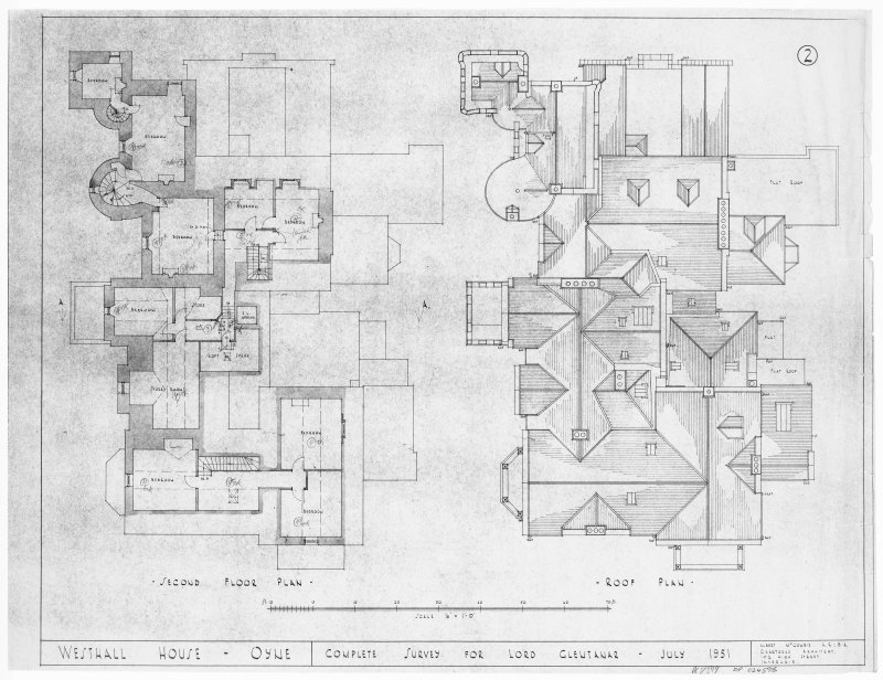 Second floor plan and roof plan.