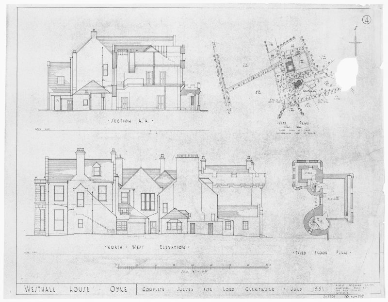 Third floor plan, NW elevation, section and site plan.