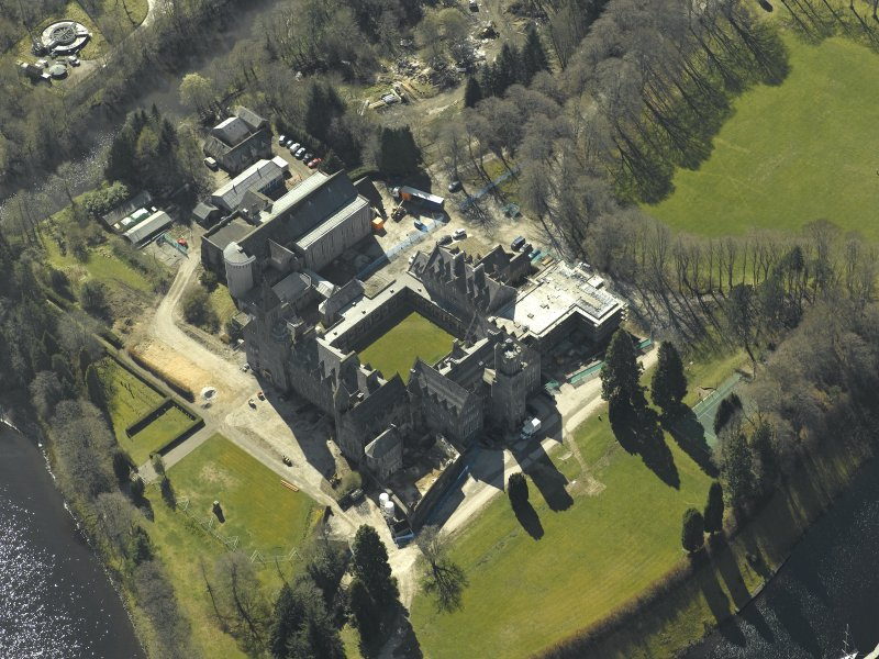 Oblique aerial view centred on the abbey and school, taken from the NNE.