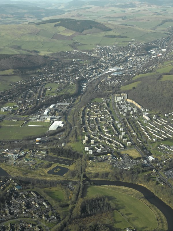General oblique aerial view centred on Galashiels and Redbridge railway viaduct, taken from the SE.