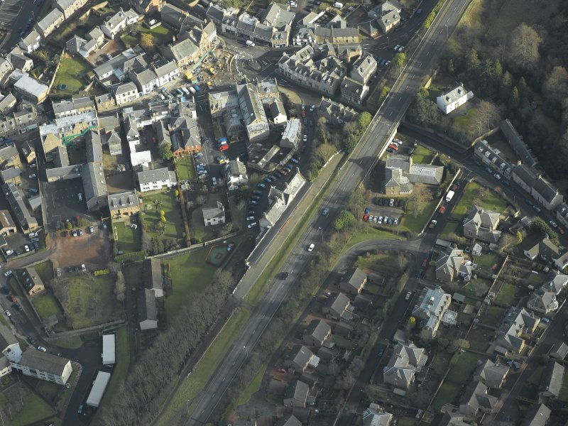 Oblique aerial view centred on Melrose railway station, taken from the SW.