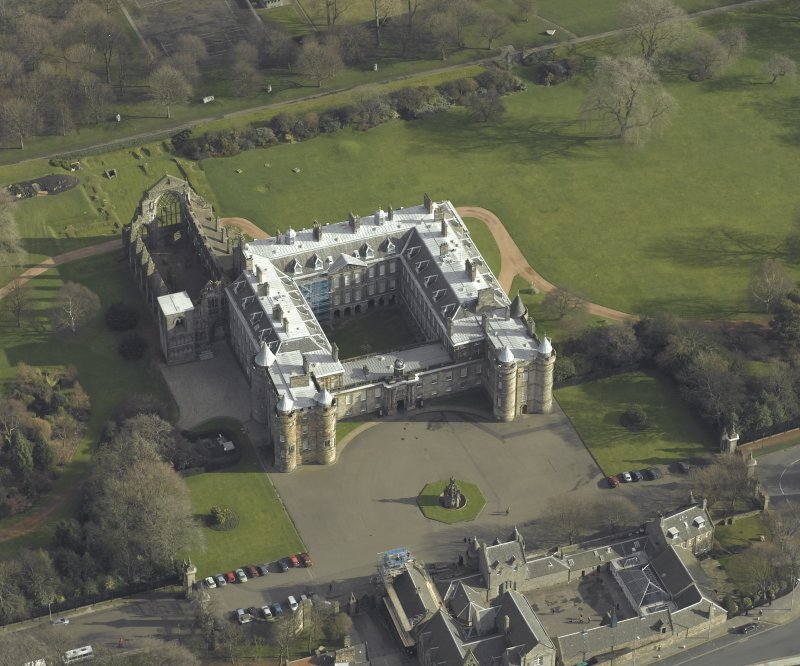 Oblique aerial view centred on Holyrood Palace, Abbey, taken from the W.