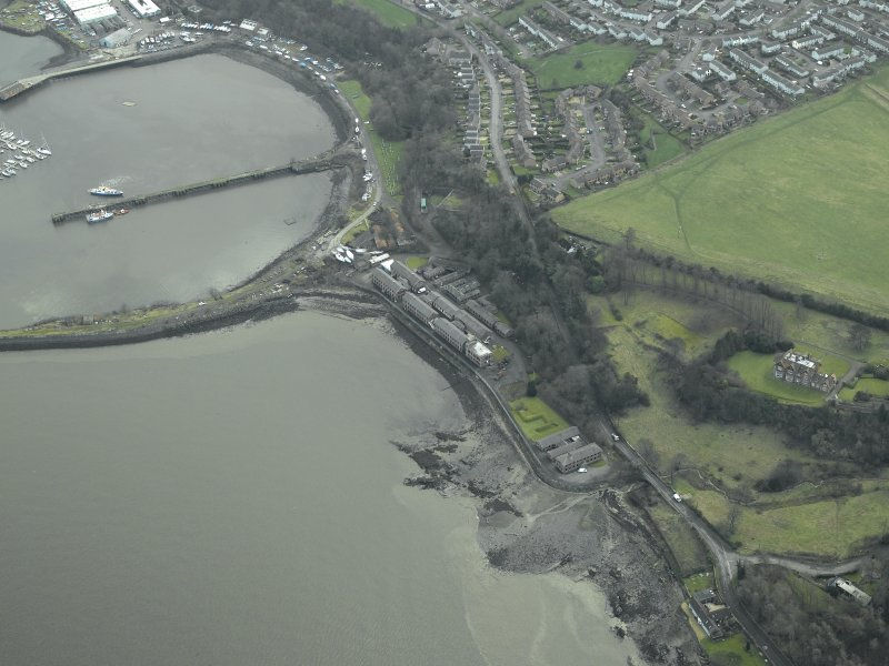 Oblique aerial view centred on Port Edgar harbour and former Naval Base, taken from the NW.