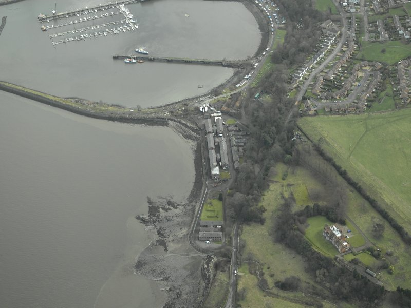 Oblique aerial view centred on Port Edgar harbour and former Naval Base, taken from the WSW.