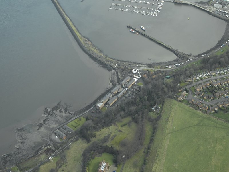 Oblique aerial view centred on Port Edgar harbour and former Naval Base, taken from the SW.