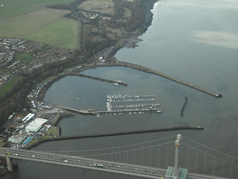 Oblique aerial view centred on Port Edgar harbour and former Naval Base, taken from the E.